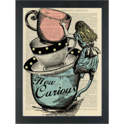 Alice _how curious_ climbing tea cups quirky darwing Dictionary Art Print