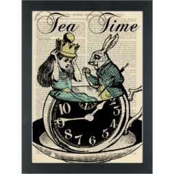 Alice in wonderland fantasy teacup with rabbit Tea Time Dictionary Art Print
