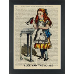 Alice vintage drawing Drink Me Dictionary Art Print