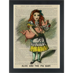 Alice vintage drawing with baby pig Dictionary Art Print