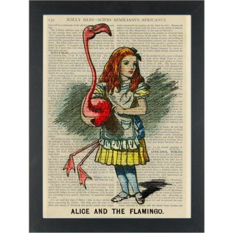 Alice vintage drawing with flamingo Dictionary Art Print