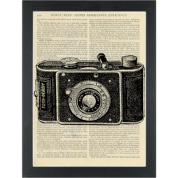 Antique black and white drawing old camera Dictionary Art Print