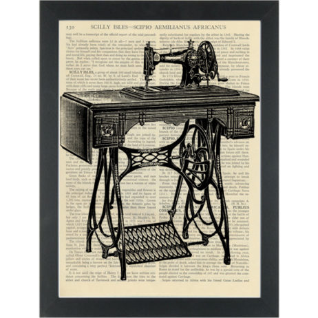 Antique singer sewing machince vintage black and white drawing Dictionary Art Print