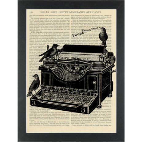 Antique typewriter black and white drawing Dictionary Art Pring