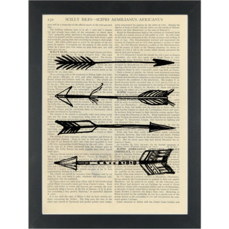 Arrows black and white hand drawing Dictionary Art Print