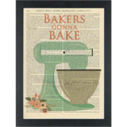 Bakers Gonna Bake retro kitchen Dictionary Art Print