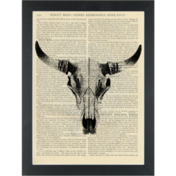 Black White bulls skull head vintage drawing Dictionary Art Print