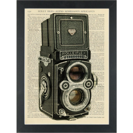 Camera vintage Rolleflex black and white Dictionary Art Print