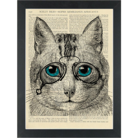 Cat wearing glasses retro quirky Dictionary Art Print