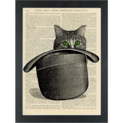 Cute Cat bowler hat Dictionary Art Print