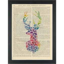 Deer head rainbow rain Dictionary Art Print