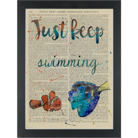 Dory Nemo Keep Swimming watercolor Dictionary Art Print