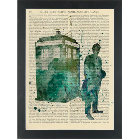 Dr Who Tardis watercolor Dictionary Art Print
