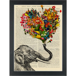 Elephant trumpeting flowers Dictionary Art Print