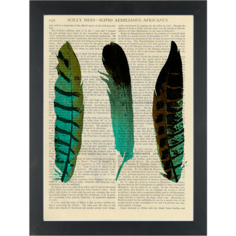 Feathers 3 blue green set