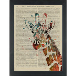 Giraffe watercolor nursery Dictionary Art Print