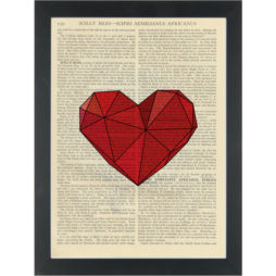 Heart red geometric Dictionary Art Print