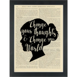 Inspiring quote Change your world Dictionary Art Print