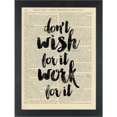Inspiring quote Dont Wish, Work Dictionary Art Print