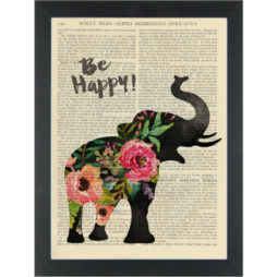 Inspiring quote Elephant Be Happy flowers Dictionary Art Print