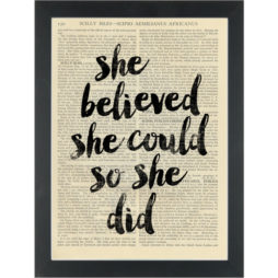 Inspiring quote She Believed She Could Dictionary Art Print