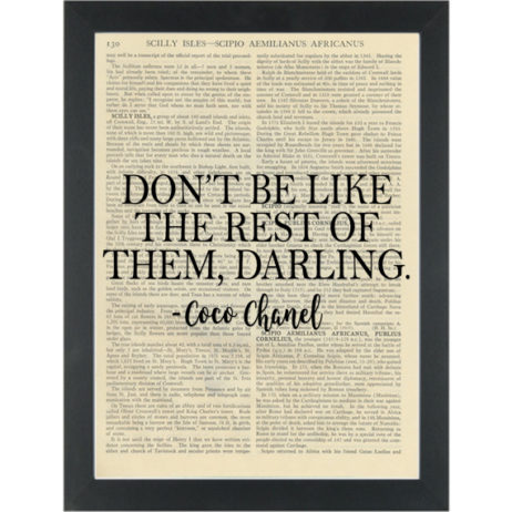 Inspiring quote coco chanel darling Dictionary Art Print