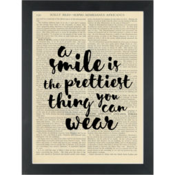 Inspiring wear a smile Audrey Hepburn Dictionary Art Print