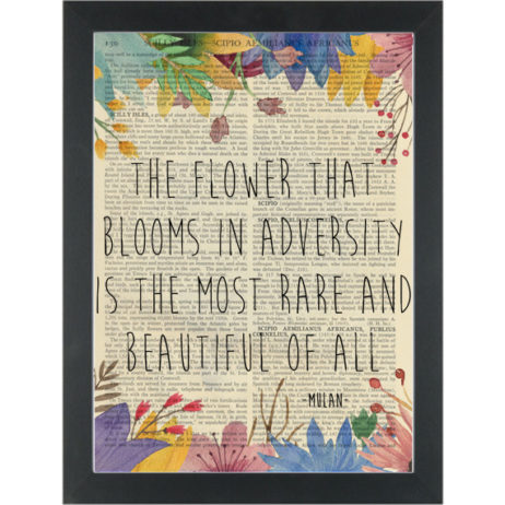 Mulan flower quote Bloom Adversity Dictionary Art Print