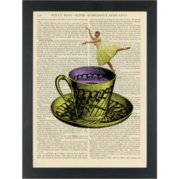 Quirky retro tea cup ballerina Dictionary Art Print