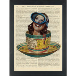 Quirky teacup scuba diver Dictionary Art Print