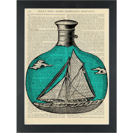 Retro boat in a bottle Dictionary Art Print