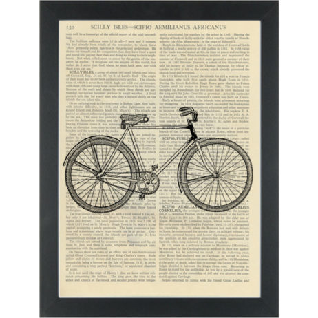 Retro boys Bicycle vintage drawing black and white Dictionary Art Pring