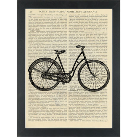Retro girls Bicycle vintage drawing black and white Dictionary Art Print