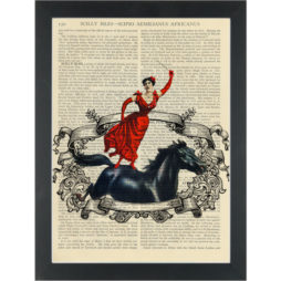 Retro quirky vintage acrobat on horse Dictionary Art Print