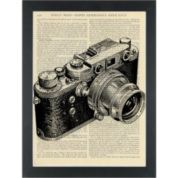 Vintage 35mm camera black and white drawing Dictionary Art Print