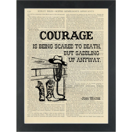 Vintage Courage John Wayne quote Dictionary Art Print