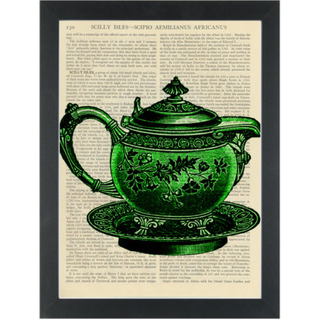 Vintage green tea pot Kitchen Dictionary Art Print