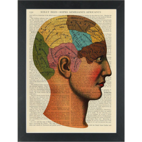 Vintage retro quirky healthy mind drawing Dictionary Art Print
