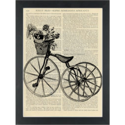 Vintage tricycle black and white drawing Dictionary Art Print