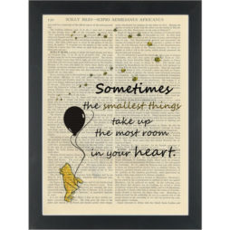 Winnie pooh balloon Small things take up most room quote Dictionary Art Print