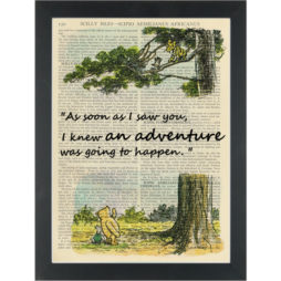 Winnie pooh story book Adventure in a tree Dictionary Art Print
