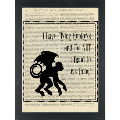 Wizard of Oz quote Flying monkeys Dictionary Art Print