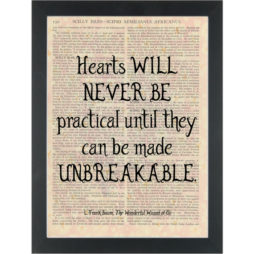 Wizard of Oz quote Hearts unbreakable Dictionary Art Print