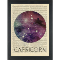 Zodiac Capricorn constellation Dictionary Art Print