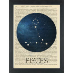Zodiac Pisces constellation Dictionary Art Print