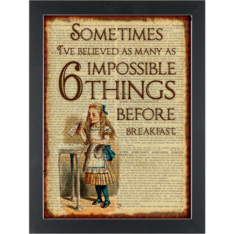 Alice in wonderland 6 impossible things before bfast Dictionary Art Print