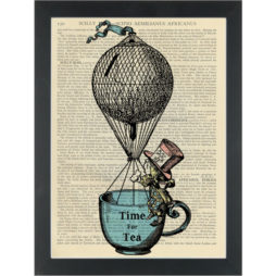Alice in wonderland fantasy Mad Hatter Hot air ballon Time for Tea Dictionary Art Print