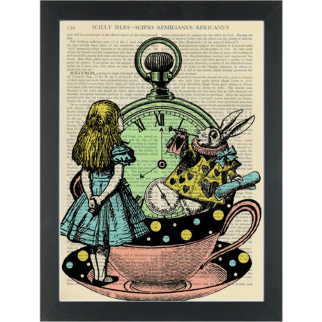 Alice in wonderland fantasy cup and clock with rabbit Dictionary Art Print