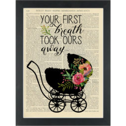 Babys first breath quote Floral nursery Dictionary Art Print
