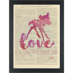 Bambi watercolor for Nursery Love is a song Dictionary Art Print